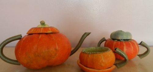 осенние поделки из овощей тыква поделка чайный сервиз