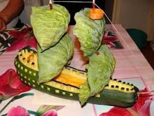 осенние поделки из овощей корабль