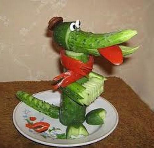 Крокодил из огурца осенние поделки из овощей