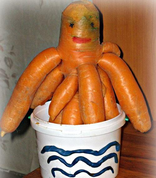 Морковь оригинальной формы осенние поделки из овощей