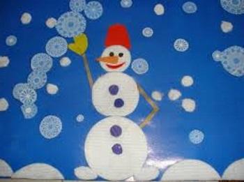 Снеговик аппликация из дисков.