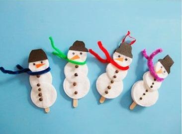снеговики поделка на палочке