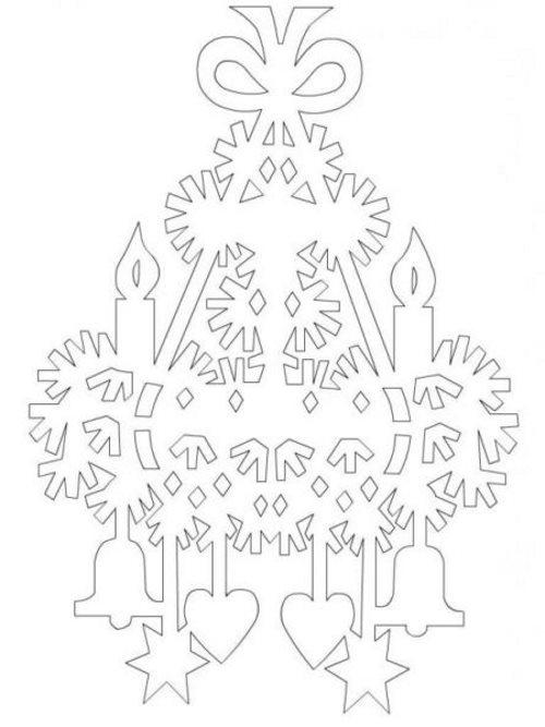 елочка новогодняя (трафареты) с детьми