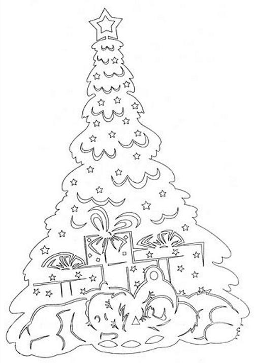 елочка новогодняя (трафареты) с подарками