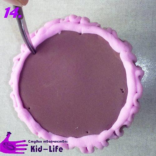 как слепить торт из пластилина разметка верхнего коржа