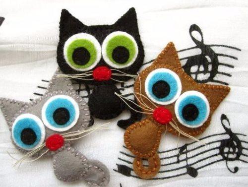 милые котята из фетра