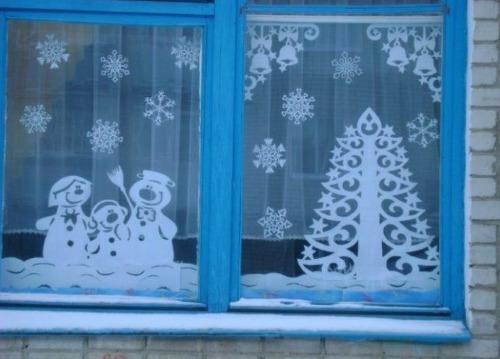 Украшение окон к новому году 2020 снеговики