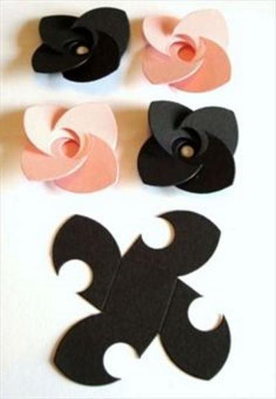 схема выкройка подарочной упаковки роза цветок
