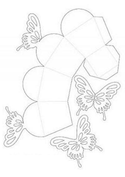 схема выкройка подарочной упаковки с бабочкой