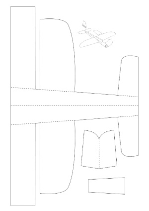 контур самолета из бумаги